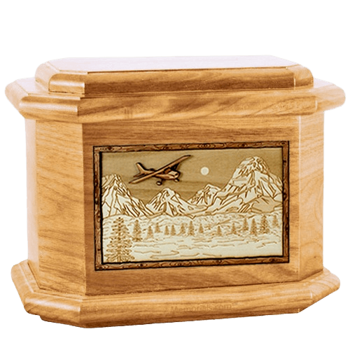 Aviation Oak Octagon Cremation Urn