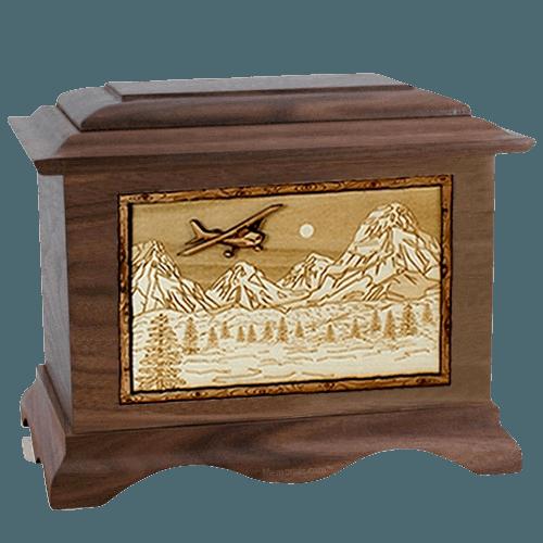 Aviation Walnut Cremation Urn