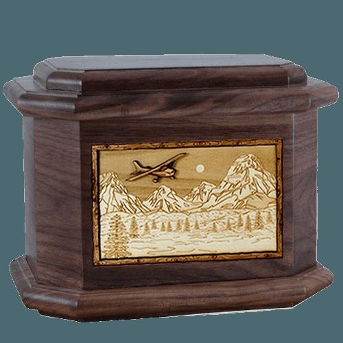 Aviation Walnut Octagon Cremation Urn