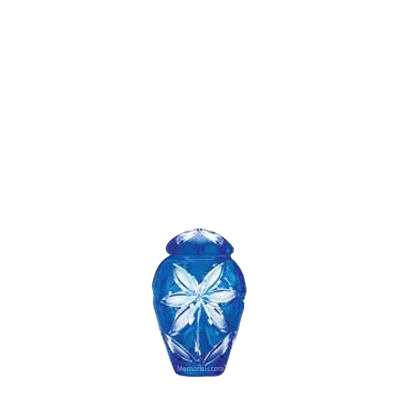 Azure Fleur Glass Cremation Keepsake Urn