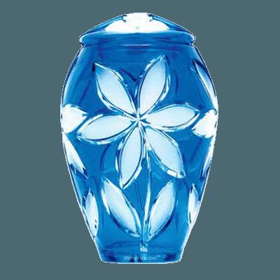 Azure Fleur Glass Cremation Urn