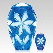 Azure Fleur Glass Cremation Urns