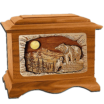 Bears Mahogany Cremation Urn for Two
