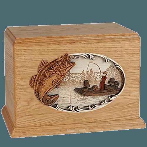 Boat Fishing Oak Companion Urn