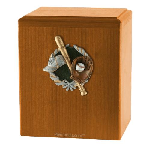 Base Ball Oak Cremation Urn