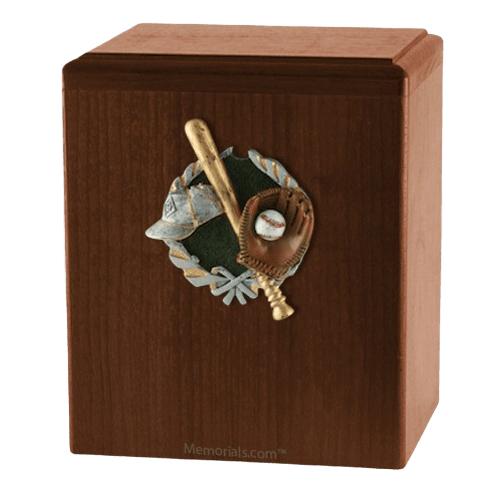 Base Ball Walnut Cremation Urn