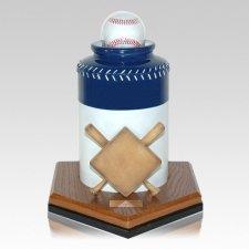 Baseball Blue Cremation Urn