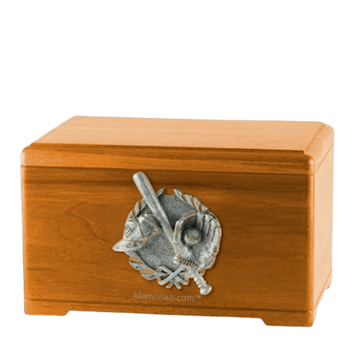 Baseball Tribute Oak Cremation Urn