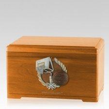 Basketball Fan Oak Cremation Urn