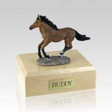 Bay Running Medium Horse Cremation Urn