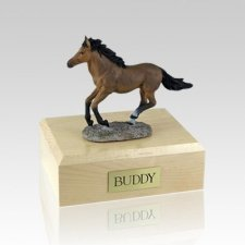 Bay Running Small Horse Cremation Urn
