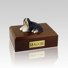 Bearded Collie Laying Large Dog Urn
