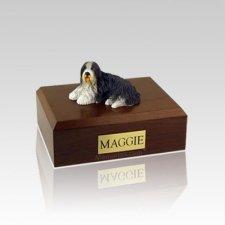 Bearded Collie Laying Medium Dog Urn