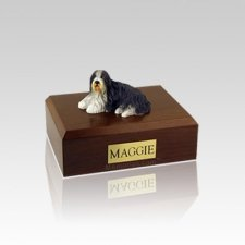 Bearded Collie Laying Small Dog Urn