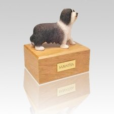 Bearded Collie Standing Medium Dog Urn