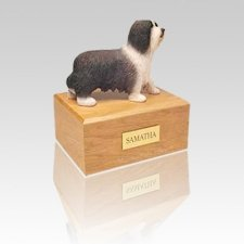 Bearded Collie Standing Small Dog Urn