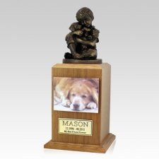 Best Friend Dog Oak Large Cremation Urn