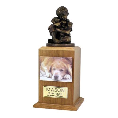 Best Friend Dog Oak Large Cremation Urn