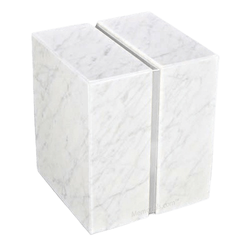 Bianco Carrera Silver Marble Urn for Two