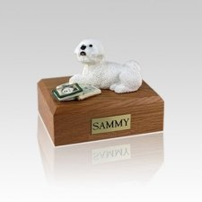 Bichon Frise Laying Small Dog Urn