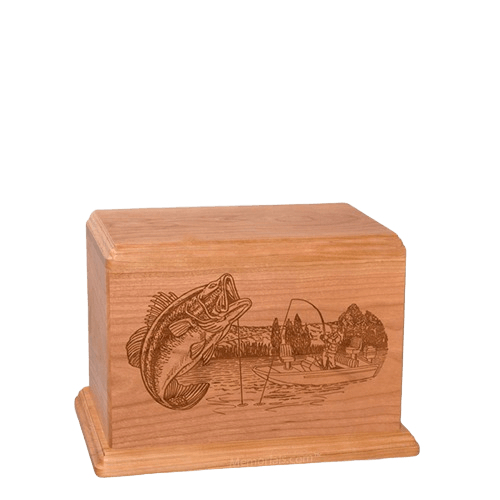 Big Bass Small Cherry Wood Urn