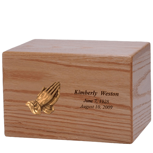 Big Prayer Wood Cremation Urn