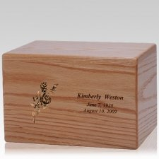 Big Rose Wood Cremation Urn