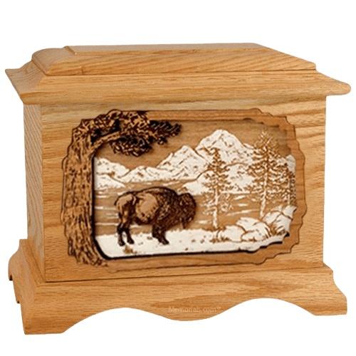 Bison Oak Cremation Urn