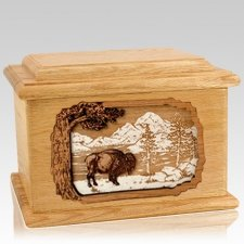 Bison Oak Memory Chest Cremation Urn