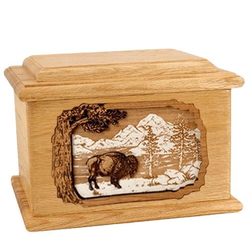 Bison Oak Memory Chest Cremation Urn