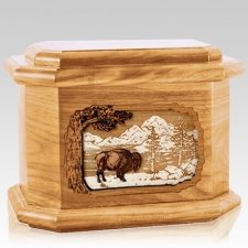 Bison Oak Octagon Cremation Urn