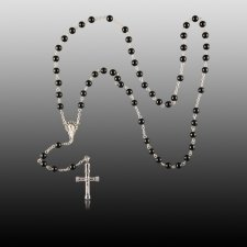 Black Agate Cremation Rosaries