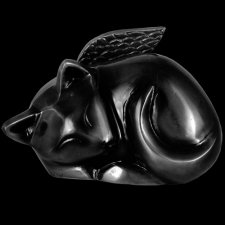 Black Angel Cat Cremation Urn