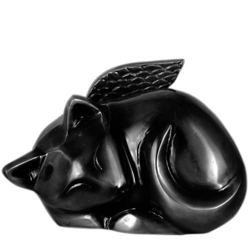Black Angel Cat Cremation Urn