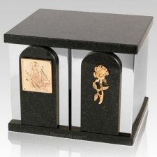 Black Cloud Silver Marble Urn for Two