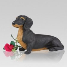 Black Dachshund Cremation Urn