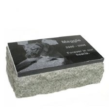 Black & Gray Granite XX Large Pet Grave Marker