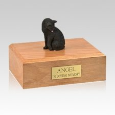 Black Grooming Large Cat Cremation Urn