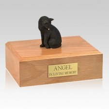 Black Grooming Cat Cremation Urns