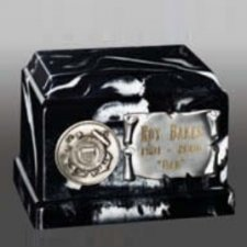 Black Marble Military Keepsake Urn