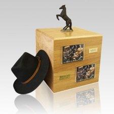 Black Rearing Full Size Large Horse Urn