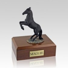 Black Rearing Large Horse Cremation Urn