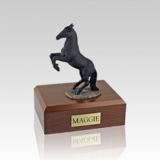Black Rearing Small Horse Cremation Urn