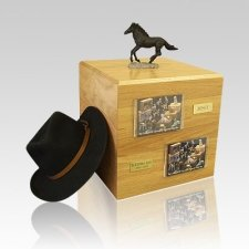 Black Running Full Size Large Horse Urn