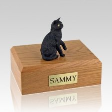 Black Sitting Large Cat Cremation Urn
