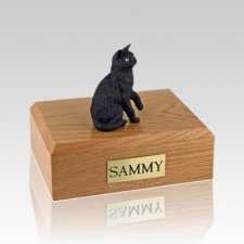 Black Sitting Medium Cat Cremation Urn