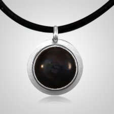 Black Spot of Color Silver Cremation Ash Pendant