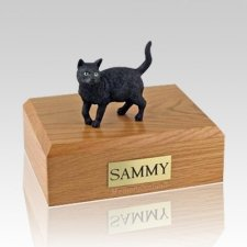 Black Standing Large Cat Cremation Urn
