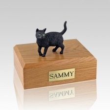 Black Standing Medium Cat Cremation Urn