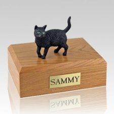 Black Standing X Large Cat Cremation Urn